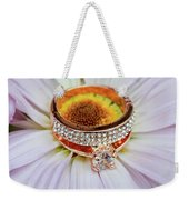 rings on white daisy love Valentine's Day  gerbera and wedding gold  Weekender Tote Bag