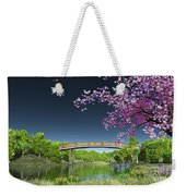 River Bridge Cherry Tree Blosson Weekender Tote Bag