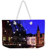 River Dijver, Rozenhoedkaai Area At Night, Bruges City Weekender Tote Bag