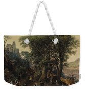 River Landscape In The Spring With Castle And Noblemen Weekender Tote Bag