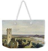 River Landscape With Castle Ruins Weekender Tote Bag