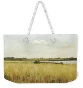 River Landscape With Cornfield Weekender Tote Bag