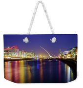 River Liffey In Dublin At Dusk Weekender Tote Bag