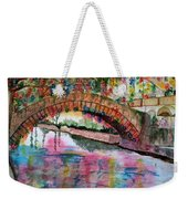 River Walk At Christmas Weekender Tote Bag