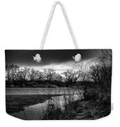 River With Dark Cloud In Black And White Weekender Tote Bag