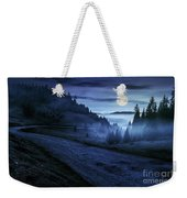 Road Near Foggy Forest In Mountains At Night Weekender Tote Bag