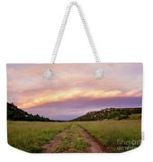 Road Through New Mexico Landscape At Sunrise Weekender Tote Bag