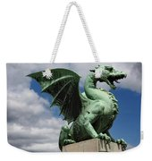 Roaring Winged Dragon Sculpture Of Green Sheet Copper Symbol Of  Weekender Tote Bag