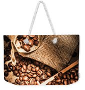 Roasted Coffee Beans In Drawer And Bags On Table Weekender Tote Bag
