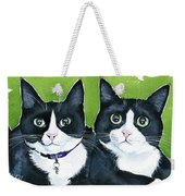Robin And Batcat - Twin Tuxedo Cat Painting Weekender Tote Bag