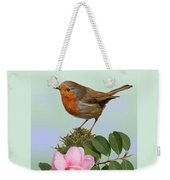 Robin And Camellia Flower Weekender Tote Bag