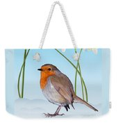 Robin And Cold Snowdrops Weekender Tote Bag