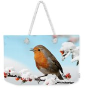 Robin And Cotoneaster With Snow Weekender Tote Bag
