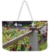 Robin And Roses Weekender Tote Bag