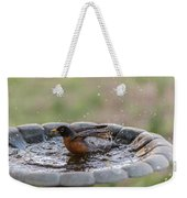 Robin In Bird Bath New Jersey  Weekender Tote Bag
