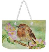 Robin In Flowers Weekender Tote Bag