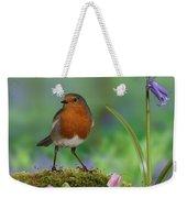 Robin In Spring Wood Weekender Tote Bag