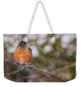Robin In Winter Weekender Tote Bag