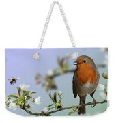 Robin On Cherry Blossom Weekender Tote Bag