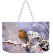 Robin On Cotoneaster With Snow Weekender Tote Bag