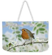 Robin On Frosty Briar Weekender Tote Bag
