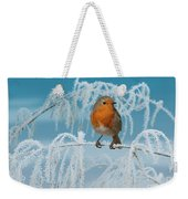 Robin On Frosty Grass Weekender Tote Bag