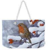 Robin On Snow-covered Rose Hips Weekender Tote Bag