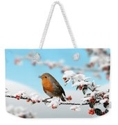 Robin On Snowy Cotoneaster Weekender Tote Bag