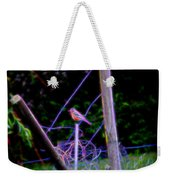 Robin On The Wires Weekender Tote Bag