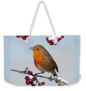 Robin On Winter Cotoneaster Weekender Tote Bag