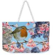 Robin On Winter Flowering Plum Weekender Tote Bag
