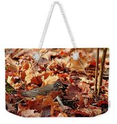 Robin Playing In Fallen Leaves Weekender Tote Bag