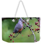 Robin Reaching For Berry Weekender Tote Bag