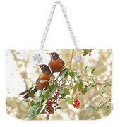 Robins In Holly Weekender Tote Bag