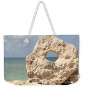 Rock With A Hole With A Tropical Ocean In The Background. Weekender Tote Bag