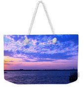 Rockaway Point Dock Sunset Violet Orange Weekender Tote Bag