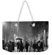 Rockefeller Center Christmas Tree Black And White Weekender Tote Bag