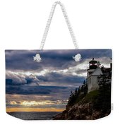 Rocky Cliffs Below Maine Lighthouse Weekender Tote Bag
