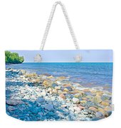 Rocky Lake Superior Shoreline Near North Country Trail In Pictured Rocks National Lakeshore-michigan Weekender Tote Bag