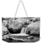 Rocky Mountain Canyon Waterfall In Black And White Weekender Tote Bag