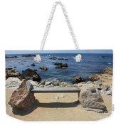 Rocky Seaside Bench Weekender Tote Bag