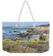 Rocky Surf With Wildflowers Weekender Tote Bag