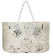 Roller Skate Patent - Patent Drawing For The 1882 F. A. Combes Roller Skate Weekender Tote Bag