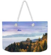 Rolling Fog At Columbia River Gorge In Fall Weekender Tote Bag