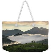 Rolling Fog At Sunrise In The Skofjelosko Hills With St Thomas C Weekender Tote Bag