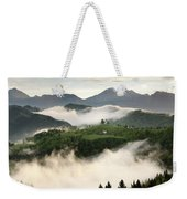 Rolling Fog At Sunrise With Mountains Of Kamnik Savinja Alps At  Weekender Tote Bag