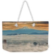 Rolling Low Fog Over City Of Portland Weekender Tote Bag