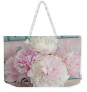 Paris Peonies Floral Books Art - Pink And Aqua Peonies Books Decor - Shabby Chic Peonies  Weekender Tote Bag
