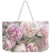 Romantic Shabby Chic Pastel Pink Peonies Bouquet - Romantic Pink Peony Flower Prints Weekender Tote Bag