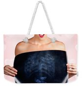 Romantic Woman In Love With Butterflies In Tummy Weekender Tote Bag